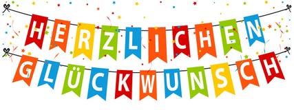 Γερμανικό έμβλημα Herzlichen Glà ¼ κόμματος ckwunsch - ζωηρόχρωμη διανυσματική απεικόνιση - που απομονώνεται στο λευκό Στοκ εικόνες με δικαίωμα ελεύθερης χρήσης