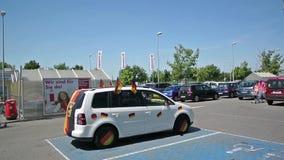 Γερμανικό αυτοκίνητο ανεμιστήρων ποδοσφαίρου Στοκ Φωτογραφία