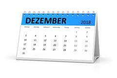 Γερμανικό ημερολόγιο 2018 Δεκέμβριος γλωσσικών πινάκων ελεύθερη απεικόνιση δικαιώματος