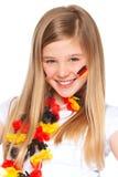 γερμανικό ποδόσφαιρο χαμόγελου ανεμιστήρων Στοκ Φωτογραφίες