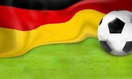 Γερμανικό σημαιών ποδοσφαίρου υπόβαθρο σφαιρών ποδοσφαίρου τρισδιάστατο Στοκ Φωτογραφία