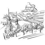 Γερμανικό σκίτσο αμπελώνων με την εκκλησία, τον ποταμό και τους λόφους Στοκ εικόνες με δικαίωμα ελεύθερης χρήσης