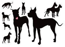 Γερμανικό σκυλί οκτώ σκιαγραφίες στοκ εικόνα με δικαίωμα ελεύθερης χρήσης