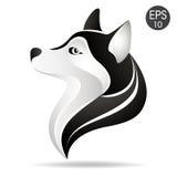 Γεροδεμένο επικεφαλής λογότυπο σχεδιαγράμματος Διανυσματική απεικόνιση αποθεμάτων του από την Αλάσκα σκυλιού Στοκ Φωτογραφία