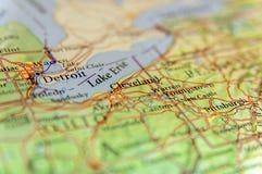 Γεωγραφικός χάρτης της αμερικανικής πόλης Ντιτρόιτ, Κλίβελαντ και νέο Πίτσμπουργκ γ Στοκ Φωτογραφίες