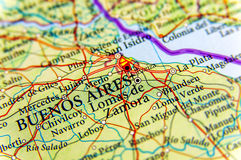 Γεωγραφικός χάρτης της Αργεντινής με την κύρια πόλη του Μπουένος Άιρες Στοκ εικόνες με δικαίωμα ελεύθερης χρήσης