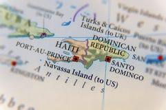 Γεωγραφικός χάρτης της Αϊτής και Δομινικανής Δημοκρατίας στοκ φωτογραφίες με δικαίωμα ελεύθερης χρήσης