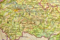 Γεωγραφικός χάρτης της ευρωπαϊκής Δημοκρατίας της Τσεχίας χωρών με τις σημαντικές πόλεις Στοκ φωτογραφία με δικαίωμα ελεύθερης χρήσης