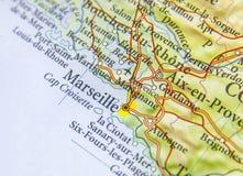 Γεωγραφικός χάρτης της ευρωπαϊκής χώρας Γαλλία με την πόλη της Μασσαλίας Στοκ Φωτογραφία