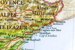 Γεωγραφικός χάρτης της ευρωπαϊκής χώρας Γαλλία με την πόλη της Νίκαιας Στοκ εικόνες με δικαίωμα ελεύθερης χρήσης