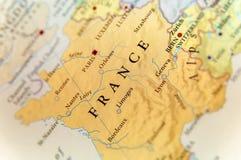Γεωγραφικός χάρτης της ευρωπαϊκής χώρας Γαλλία με τις σημαντικές πόλεις Στοκ φωτογραφία με δικαίωμα ελεύθερης χρήσης