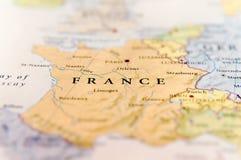 Γεωγραφικός χάρτης της ευρωπαϊκής χώρας Γαλλία με τις σημαντικές πόλεις Στοκ Εικόνες