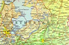 Γεωγραφικός χάρτης της ευρωπαϊκής χώρας Κάτω Χώρες με τις σημαντικές πόλεις Στοκ εικόνα με δικαίωμα ελεύθερης χρήσης