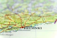 Γεωγραφικός χάρτης της ευρωπαϊκής χώρας Φινλανδία με τη πρωτεύουσα του Ελσίνκι Στοκ Φωτογραφίες