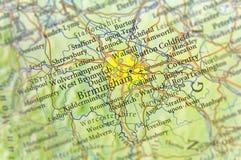 Γεωγραφικός χάρτης της ευρωπαϊκής χώρας UK με την πόλη του Μπέρμιγχαμ Στοκ Εικόνες