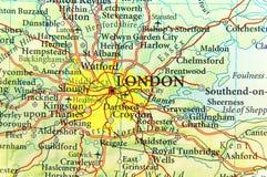 Γεωγραφικός χάρτης της ευρωπαϊκής χώρας UK με τη πρωτεύουσα του Λονδίνου Στοκ φωτογραφία με δικαίωμα ελεύθερης χρήσης