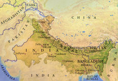 Γεωγραφικός χάρτης της Ινδίας, του Νεπάλ, του Μπουτάν και του Μπανγκλαντές με τις σημαντικές πόλεις Στοκ φωτογραφία με δικαίωμα ελεύθερης χρήσης