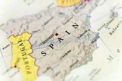 Γεωγραφικός χάρτης της Ισπανίας με τις σημαντικές πόλεις Στοκ φωτογραφία με δικαίωμα ελεύθερης χρήσης