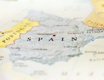 Γεωγραφικός χάρτης της Ισπανίας με τις σημαντικές πόλεις Στοκ φωτογραφίες με δικαίωμα ελεύθερης χρήσης