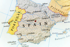 Γεωγραφικός χάρτης της Ισπανίας με τις σημαντικές πόλεις Στοκ εικόνα με δικαίωμα ελεύθερης χρήσης