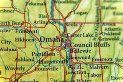 Γεωγραφικός χάρτης της Ομάχα στενός στοκ φωτογραφία