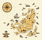 Γεωγραφικός χάρτης r ελεύθερη απεικόνιση δικαιώματος