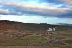 Γεωθερμικές εγκαταστάσεις παραγωγής ενέργειας στην Ισλανδία Στοκ Εικόνες