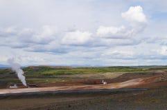 Γεωθερμικός σταθμός παραγωγής ηλεκτρικού ρεύματος κοντά στη λίμνη Myvatn, Ισλανδία Στοκ εικόνες με δικαίωμα ελεύθερης χρήσης