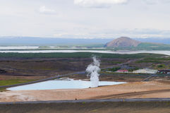 Γεωθερμικός σταθμός παραγωγής ηλεκτρικού ρεύματος κοντά στη λίμνη Myvatn, Ισλανδία Στοκ Φωτογραφίες