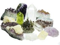 Γεωλογικά κρύσταλλα αμεθύστινου ψευδοτοπαζιακά χαλαζία geode Στοκ Εικόνες