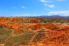 Γεωλογικό πάρκο Danxia, Zhangye, επαρχία Gansu, Κίνα στοκ εικόνα με δικαίωμα ελεύθερης χρήσης