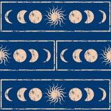γεωμετρία ιερή Ήλιος και φεγγάρι Άνευ ραφής ανασκόπηση Στοκ εικόνα με δικαίωμα ελεύθερης χρήσης