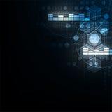Γεωμετρία στην έννοια τεχνολογίας σε ένα σκούρο μπλε υπόβαθρο Στοκ φωτογραφία με δικαίωμα ελεύθερης χρήσης