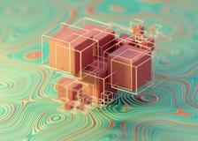 Γεωμετρικά αφηρημένα κιβώτια κύβων wireframes απεικόνιση αποθεμάτων