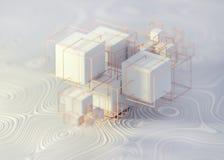 Γεωμετρικά αφηρημένα κιβώτια κύβων wireframes ελεύθερη απεικόνιση δικαιώματος