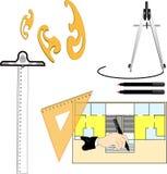 Γεωμετρικά εργαλεία σε μια άσπρη ανασκόπηση Στοκ Εικόνες