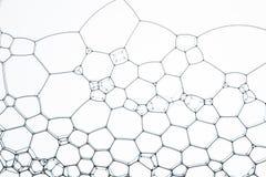 Γεωμετρικά κύτταρα που διαμορφώνονται από τις φυσαλίδες και το νερό σαπουνιών, για το υπόβαθρο ή τη σύσταση στοκ φωτογραφία