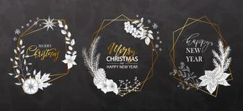 Γεωμετρικά πλαίσια Χριστουγέννων με τις hand-drawn εγκαταστάσεις Σύγχρονο σχέδιο για τις κάρτες, τις προσκλήσεις, τα φυλλάδια, το στοκ φωτογραφία με δικαίωμα ελεύθερης χρήσης