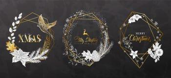 Γεωμετρικά πλαίσια Χριστουγέννων με τις hand-drawn εγκαταστάσεις Σύγχρονο σχέδιο για τις κάρτες, τις προσκλήσεις, τα φυλλάδια, το στοκ εικόνες με δικαίωμα ελεύθερης χρήσης