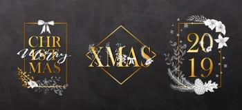 Γεωμετρικά πλαίσια Χριστουγέννων με τις hand-drawn εγκαταστάσεις Σύγχρονο σχέδιο για τις κάρτες, τις προσκλήσεις, τα φυλλάδια, το στοκ εικόνες
