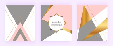Γεωμετρικά σχέδια κάλυψης, τρίγωνα με το χρυσό, ρόδινο και γκρίζο υπόβαθρο χρωμάτων Πρότυπο για την πρόσκληση σχεδίου, κάρτα, έμβ ελεύθερη απεικόνιση δικαιώματος