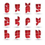 Γεωμετρικά τρισδιάστατα απλά σύμβολα καθορισμένα, αφηρημένα διανυσματικά αφηρημένα εικονίδια Στοκ Φωτογραφία