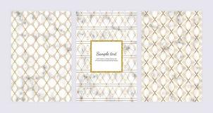 Γεωμετρικά υπόβαθρα με τις χρυσές γραμμές στη μαρμάρινη σύσταση Σύγχρονο σχέδιο μόδας για το έμβλημα, κάρτα, ιπτάμενο, πρόσκληση, ελεύθερη απεικόνιση δικαιώματος