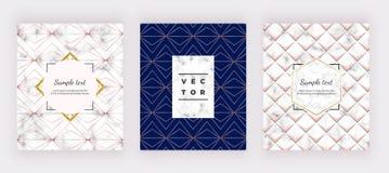 Γεωμετρικά υπόβαθρα με τις χρυσές ροδαλές γραμμές στη μαρμάρινη σύσταση Σύγχρονο σχέδιο μόδας για το έμβλημα, κάρτα, ιπτάμενο, πρ διανυσματική απεικόνιση