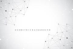 Γεωμετρικές γραφικές μόριο και επικοινωνία υποβάθρου Μεγάλα στοιχεία σύνθετα με τις ενώσεις Σκηνικό προοπτικής ελάχιστος Στοκ εικόνα με δικαίωμα ελεύθερης χρήσης