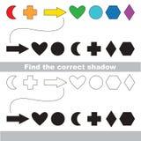 Γεωμετρικές μορφές καθορισμένες Βρείτε τη σωστή σκιά Στοκ Φωτογραφία