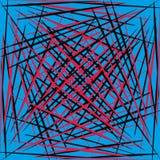 Γεωμετρικές ομαλές κόκκινες και μαύρες γραμμές σε ένα μπλε υπόβαθρο Στοκ εικόνες με δικαίωμα ελεύθερης χρήσης