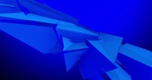 Γεωμετρικές τρισδιάστατες μορφές που επιπλέουν και κυμαιμένος μπλε υπόβαθρο 4k την τηλεοπτική ζωτικότητα φιλμ μικρού μήκους