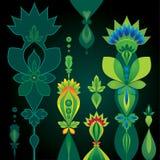 Γεωμετρική ανασκόπηση με τα αφηρημένα λουλούδια Στοκ φωτογραφία με δικαίωμα ελεύθερης χρήσης