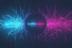 Γεωμετρική αφηρημένη επέκταση υποβάθρου της ζωής Ζωηρόχρωμο υπόβαθρο έκρηξης με τη συνδεδεμένα γραμμή και τα σημεία, ροή κυμάτων διανυσματική απεικόνιση